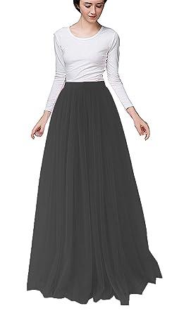 1ee5d394c18 Women Long Tulle Skirt Dress Floor Length for Wedding Bridal Bridesmaids  High Waisted Maxi Tutu Party