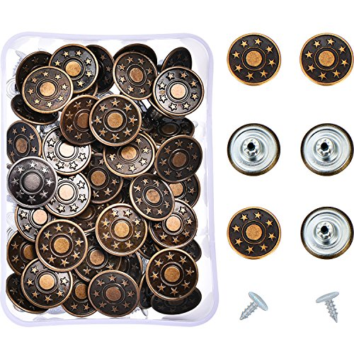 Replacement Buttons - Hestya 40 Sets Jeans Buttons Metal Button Snap Buttons Replacement Kit with Rivets and Plastic Storage Box (Bronze)