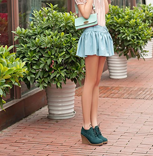 Buganda Womens Fashion Casual Outdoor Basse Zeppe Basse In Pelle Con Strass Allacciatura Scarpe Con Stivaletti Verde