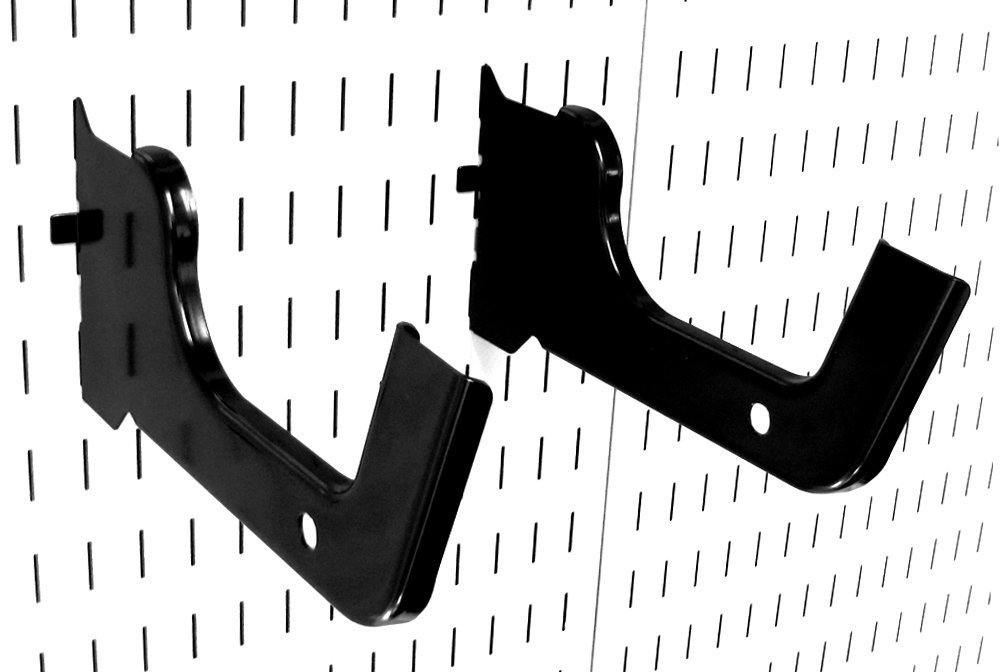 Wall Control 10-HD-012 B Heavy Duty Pegboard Hook Slotted Hook Pair, Black