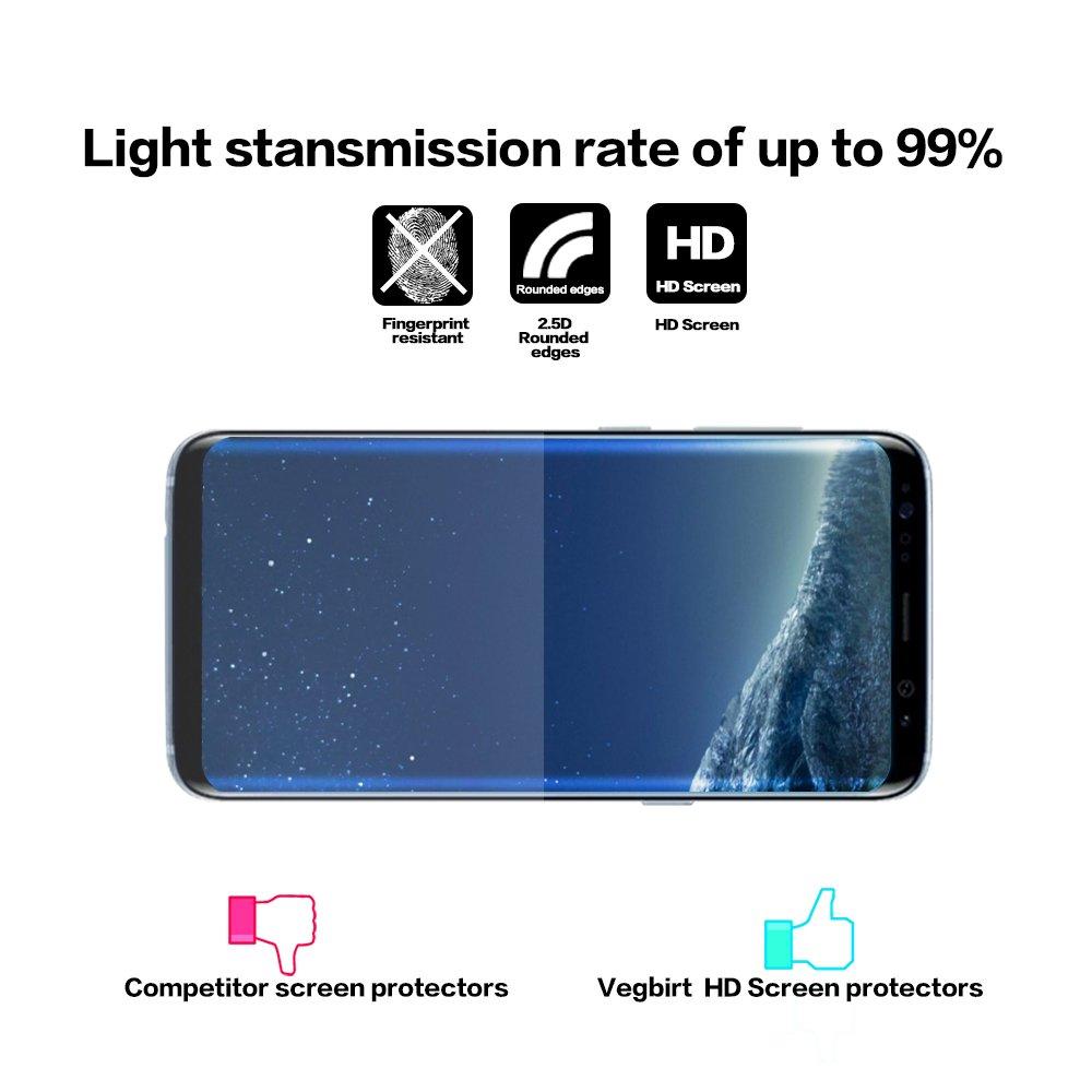 Protector de pantalla Vegbirt para Samsung Galaxy S8, vidrio templado, diseño curvado, color transparente: Amazon.es: Oficina y papelería