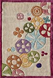 Momeni Rugs LMOTWLMT-8IVY2030 Lil' Mo Hipster Collection, Kids Themed Hand Carved & Tufted Area Rug, 2′ x 3′, Ivory