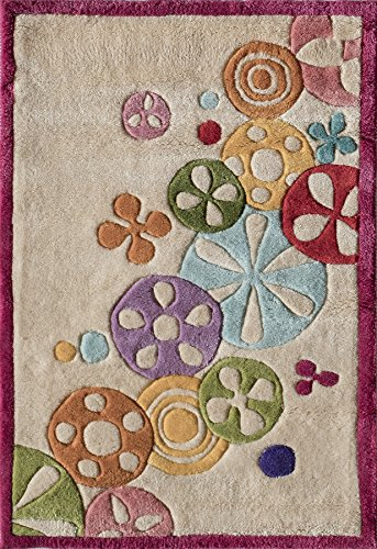 Momeni Acrylic Rug - Momeni Rugs LMOTWLMT-8IVY2030 Lil' Mo Hipster Collection, Kids Themed Hand Carved & Tufted Area Rug, 2' x 3', Ivory