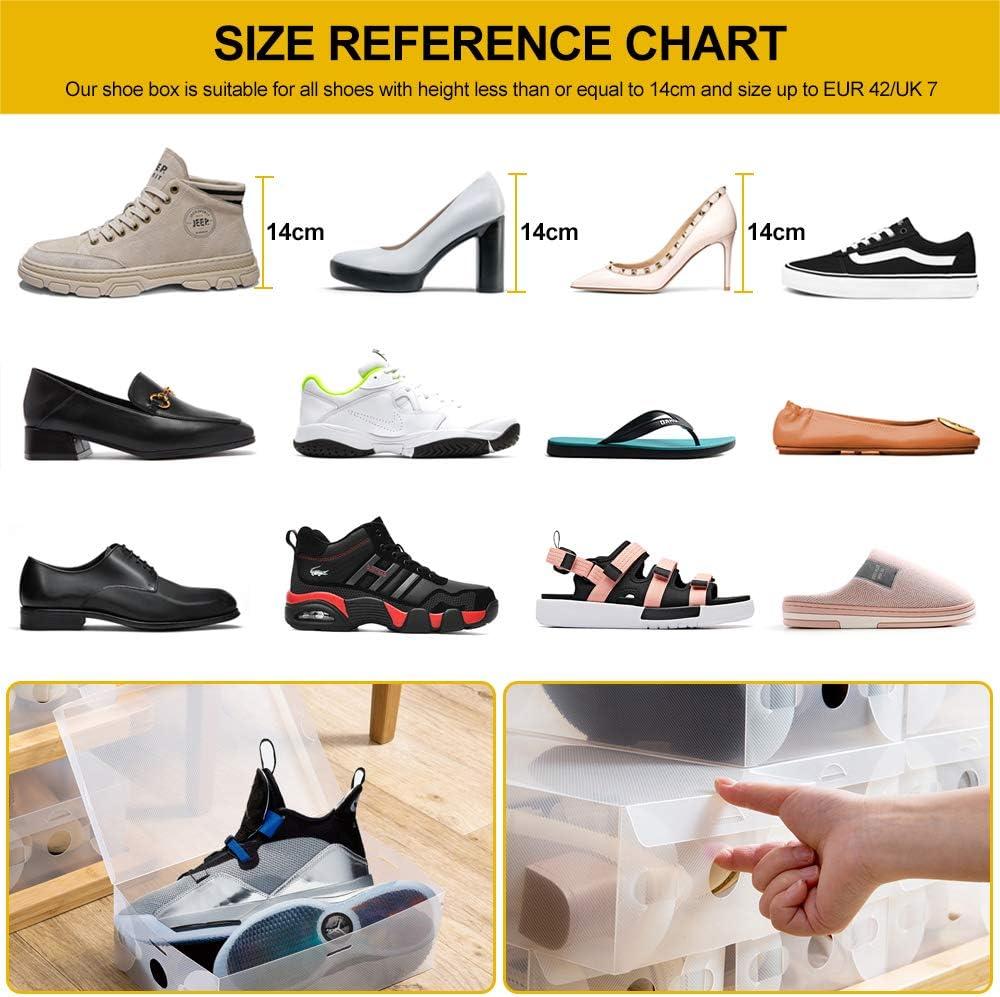 Lote de 20 Cajas de Almacenamiento de Zapatos de pl/ástico Transparente Organizador para Zapatos para Hombres y Mujeres BUZIFU apilables y Plegables