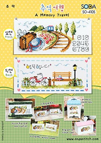 authentic Korean cross stitch design chart color printed on coated paper SODA Cross Stitch Pattern leaflet SO-3170 Getting into Memory