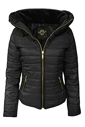 a988c2450268 Cexi Couture New Womens Padded Quilted Bomber Jacket Ladies Hooded Puffer  Coat  Amazon.co.uk  Clothing