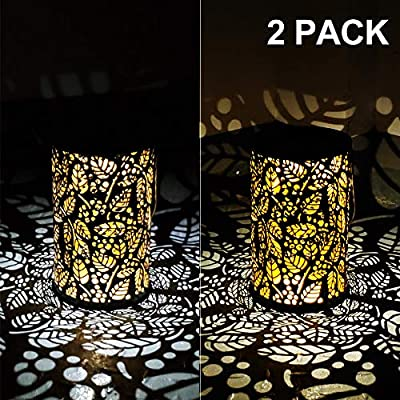 Alritz Solar Lantern Outdoor Hanging, 2 Pack Waterproof LED Solar Lights Retro Leaf Pattern Decorative Lamps for Garden Patio Tabletop, Warm/Cold White, Auto On/Off, Bronze