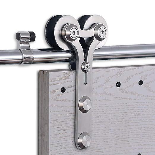 CCJH 6.6FT-200cm Acero Inoxidable Herraje para Puerta Corredera Kit de Accesorios para Puertas Correderas Rueda Riel Juego para Una Puerta de Madera: ...