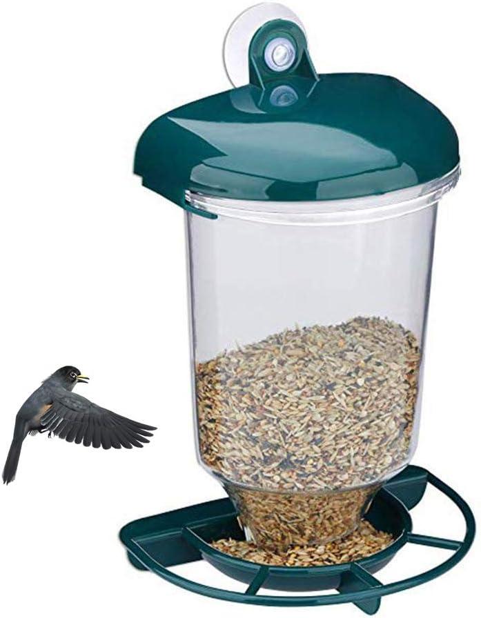 CJMING Comedero para Pájaros, Comedero para Pájaros Silvestres Transparente para Colgar Al Aire Libre, Dispensador De Alimento para Pájaros, Se Adapta a La Mayoría De Los Pájaros