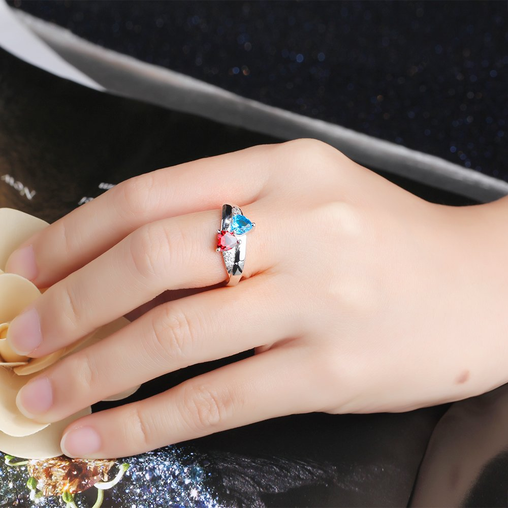 2 Simulated Birthstones Promise Rings for Her Love Forever Engraved Choose Your Color Engagement Rings (Jul-Sep, 7) by Diamondido (Image #4)