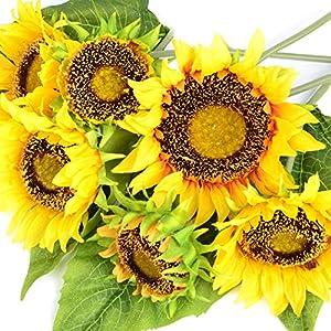 7 Heads Large Artificial Sunflower Fake Flowers Floral Bouquet Decor Garden S6U7