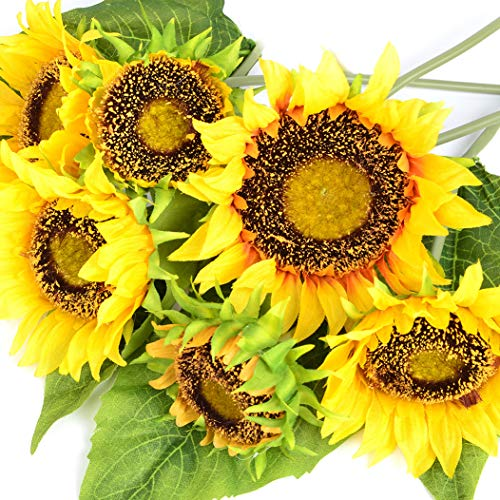(KINWELL Large Artificial Silk Sunflower Bouquet 7 Stems Fake Flowers Floral for Home Wedding Decoration, Bride Holding Flowers,Garden Craft Art Decor)