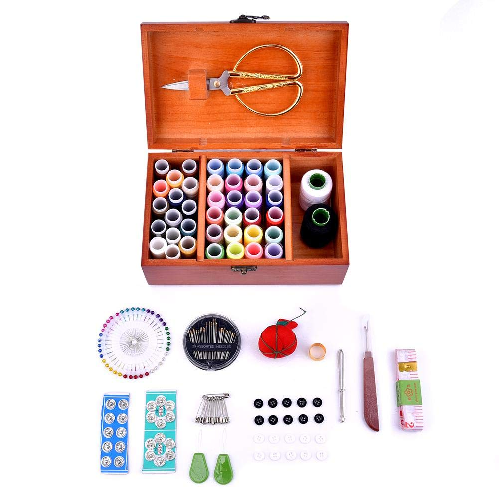 Storage case Sewing Box Needle Thread Wooden kit Accessories Elegant Retro Style Woody Organizer Basket Handmade Jewelry Souvenir Bag Household Needlework Storing