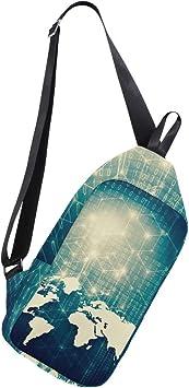 AHOMY World Map Internet Network Messenger Bag Small Travel School Sling Bag Crossbody Bag
