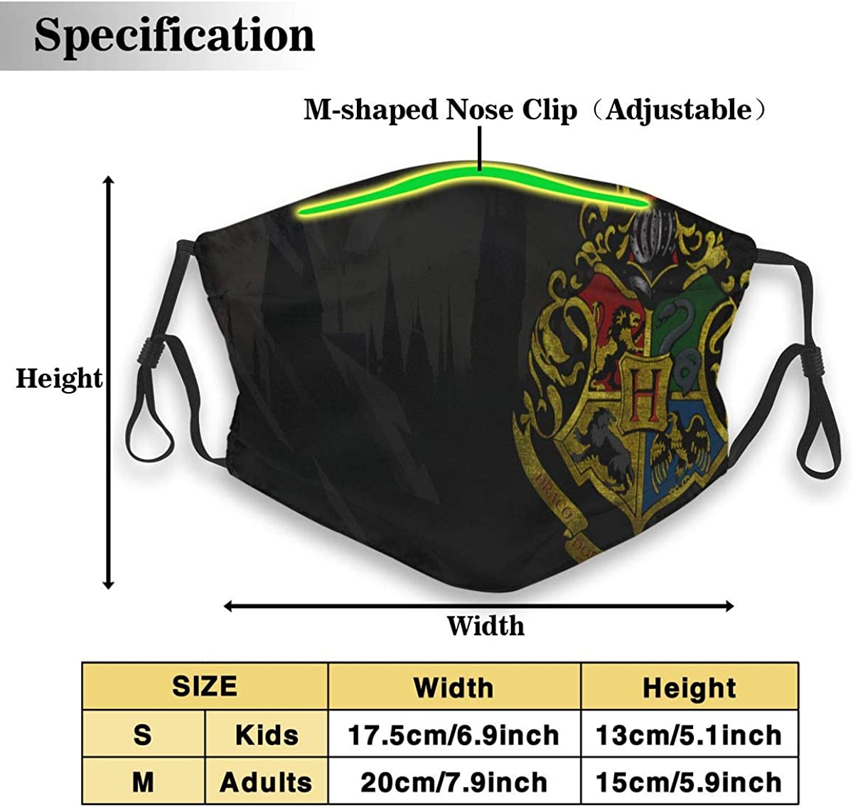 Harry Pot-TER Hogw-Arts College Logo Face Cover//Shield for Adult/&Kids Polyester Dust-Proof Waterproof Breathable Washable Reusable Outdoors for Running Climbing and Daily Use Small Black Traveling