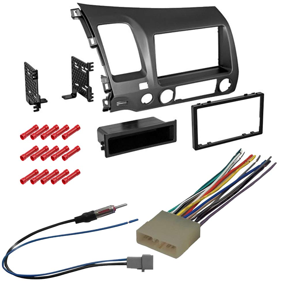 CACHÉ KIT299 Bundle with Complete Car Stereo Installation Kit Compatible with 2006-2011 Honda Civic - in Dash Mounting Kit, Antenna, and Harness for Single/Double Din Radio Receivers (4 Item) by Caché