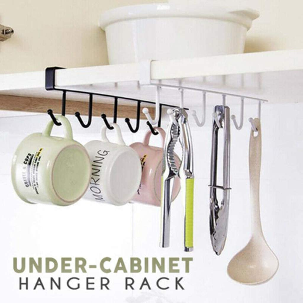 CW/_ Iron Wardrobe 6 Hooks Under Shelf Clothes Hanger Kitchen Storage Rack Cupboa