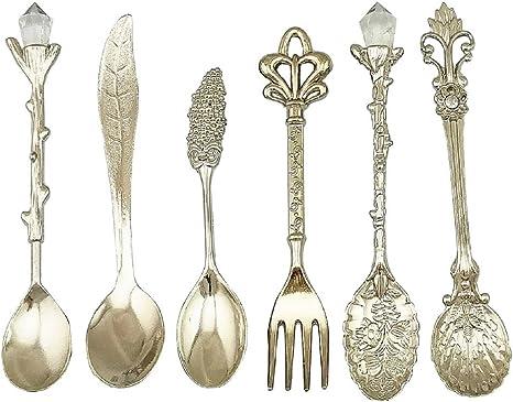 Vintage Set of 6 Ornate Sterling Silver Demitasse Espresso Coffee Spoons