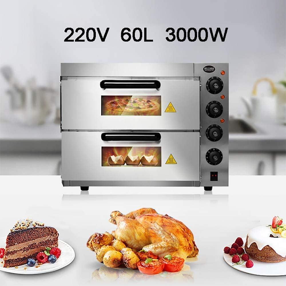 YZHM Horno de Dos velocidades 60L Pizza, eléctrico Horno asador, 350 ° C de Alta Temperatura de la mandíbula, de Plata y el Ahorro de Tiempo, el Control de Temperatura Independiente, con acces.