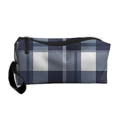SDTTYHNM Travel Bag Cosmetic Bags Brush Pouch Navy And White Plaid Portable Makeup Bag Zipper Wallet Hangbag Pen Organizer Carry Case Wristlet Holder
