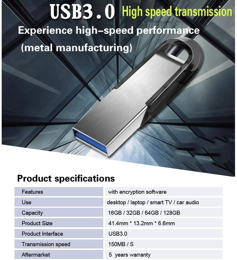 Size : 32GB Jumedy Metal Flash Drive 16G 32G 64G 128G High Speed ​​3.0 Read Speed ​​Up to 130MB//s
