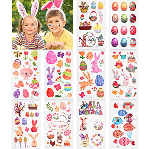 Chuangdi 30 Sheets Easter Bunny Tattoo Stickers Colorful Egg Flowers Tattoos for Easter Favors