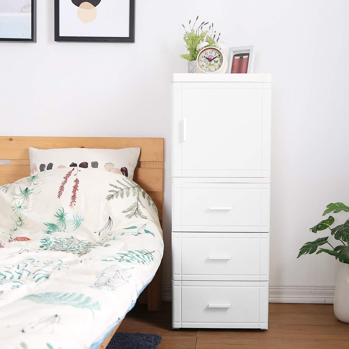 Nafenai 4 Drawer White Chest Dresser, 1-Door Storage Cabinet on Wheels for Bedroom, Kitchen, Bathroom, Hallway and More