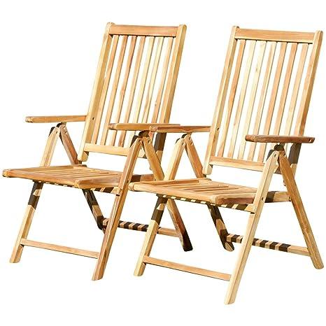 2x diseño de alto respaldo silla plegable silla plegable Sillón de jardín de madera de la