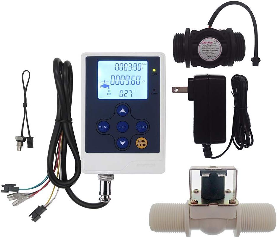 """DIGITEN Water Flow Control LCD Display+G1""""Flow Sensor Meter+G1""""Solenoid Valve+12V power"""