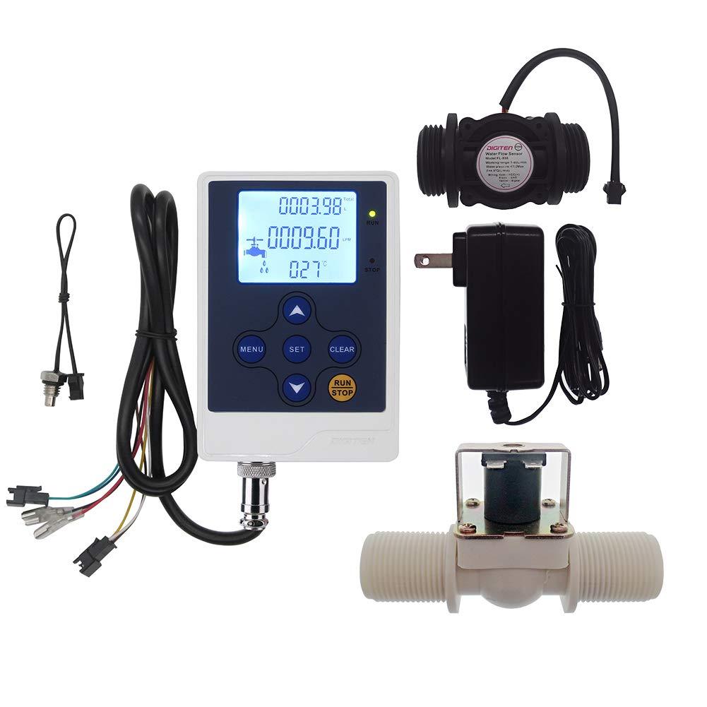 DIGITEN Water Flow Control LCD Display+G1''Flow Sensor Meter+G1''Solenoid Valve+12V power