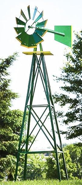 Molino de viento 8 ft Verde Metal Resistente al óxido patio ...