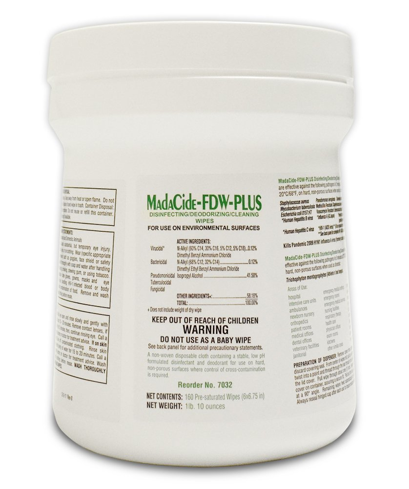 MadaCide FDW Disinfectant Germicidal Cleaner 160 Wipes Medical Sterilization