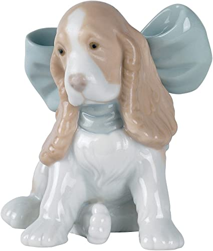 NAO Puppy Present. Porcelain Puppy Figure.
