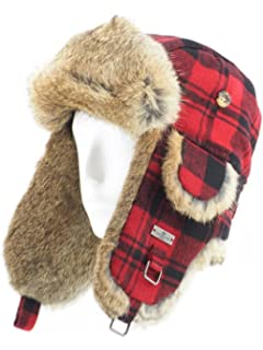 42cda6e5f15 FUR WINTER Wool Blend Buffalo Check Rabbit Fur Aviator Outdoor Trapper  Trooper Pilot Ski Hat