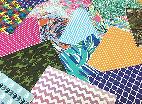 MIXED PATTERN GRAB BAG Lily Chevron Polka Dots Camo and More 8 Pieces 6 Inch x 6 Inch Perfect for Crafts!