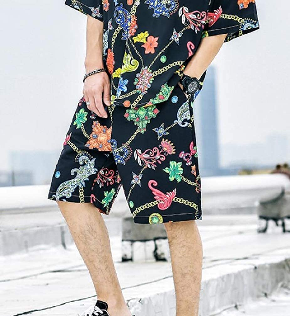 Coolred-Men Set Premium Classic-Fit Floral Printed Shirt Top with Shorts