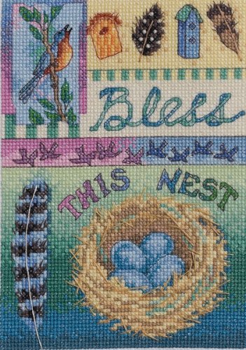 Bucilla Mini Counted Cross Stitch Picture Kit, 45524 Bless This Nest