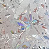 Flytianmy 3D No Glue Static Decorative Privacy Floral Pattern Window Films,Uv Prevention,Easy Removal 23.6'' x 78.7''