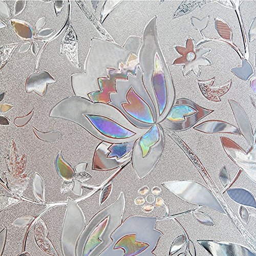 Flytianmy 3D No Glue Static Decorative Privacy Floral Pattern Window Films,Uv Prevention,Easy Removal 23.6'' x 78.7'' by Flytianmy