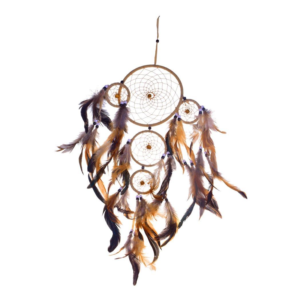 MagiDeal Ré tro Attrape-rê ve 5 Cercles W/ Plumes Perles Dream Catcher Chaî ne Dé cor Murale Pendentif
