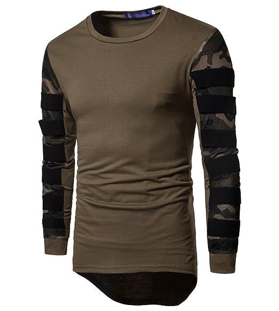 MISSMAO Camiseta Manga Larga Hombre Blusa de Tapas O-Cuello Dobladillo Irregular Ejercito Verde L