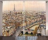 Cheap Ambesonne Eiffel Tower Decor Curtains, Paris Streets Busy Day Buildings Bridge River City Symbol Horizon Photography Print, Living Room Bedroom Decor, 2 Panel Set, 108 W X 84 L Inches, Beige