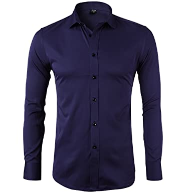 d6f0ac70c202 Bamboo Fiber Mens Dress Shirts Slim Fit Solid Casual Button Down Shirts For  Men,Navy