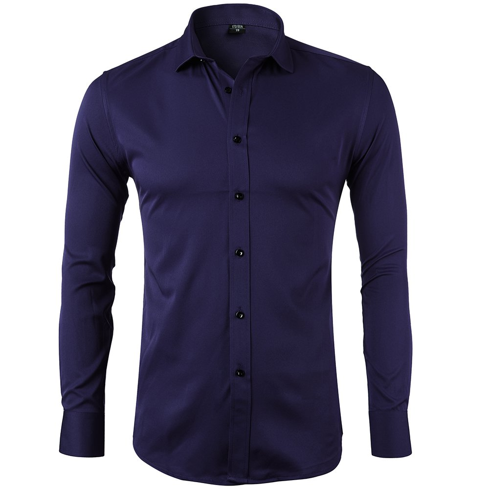 Bamboo Fiber Mens Dress Shirts Slim Fit Solid Casual Button Down Shirts For Men,Navy Blue Shirts,17''Neck 35.5''Sleeve, Tag 43
