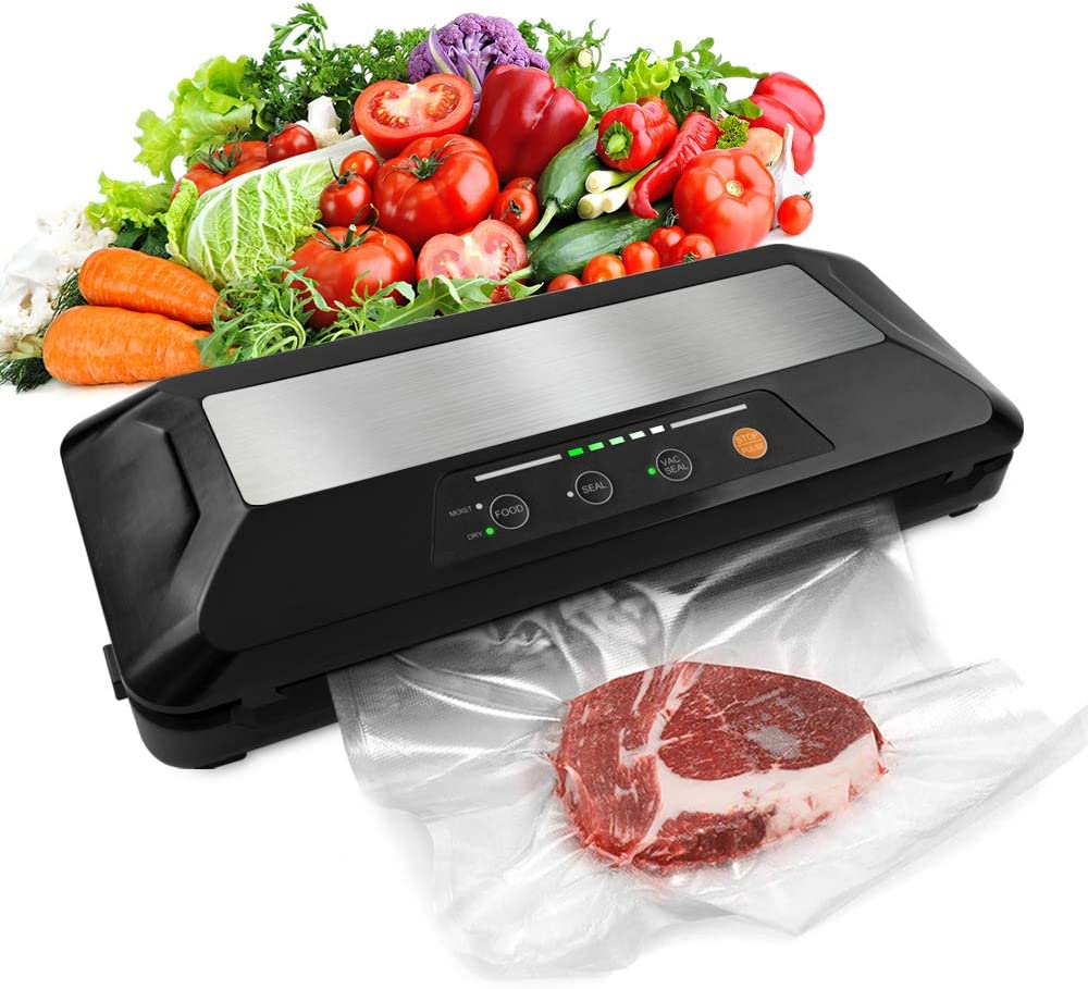 ?2021 Latest?Toprime Vacuum Sealer with Jar One-Touch 5 in 1 Food Sealing Machine Dry & Moist Mode Patented Cutter Valve Bag Vacuum Rolls Vacuum Food Storage Saver (Black)