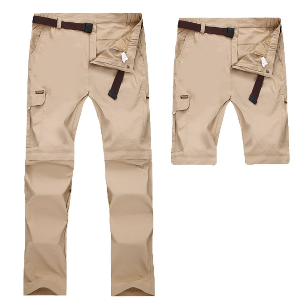 VOGUE CODE Hiking Camping Convertible Quick Drying Trousers Removable Zip-Off Pants for Men and Women (xxxl, khaki)