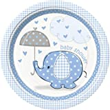 """Custom & Unique {9"""" Inch} 8 Count Multi-Pack Set of Medium Size Round Disposable Paper Plates w/ Polka Dot Heart Umbrella Elephant Baby Shower Party """"Light Blue & White Colored"""""""