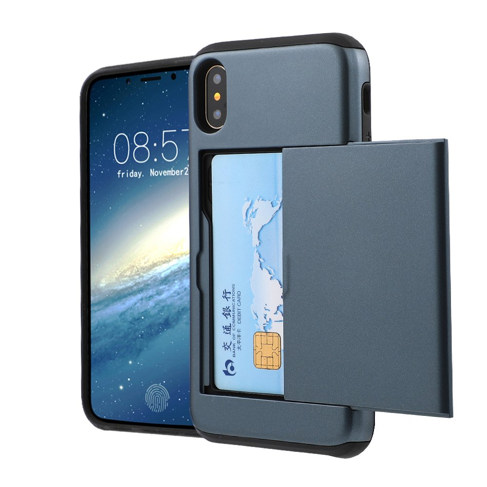 Iphone X Case ,5.8 Inch Rugged Hybrid Dual Layer Wallet Design and ID Credit Card Slot Holder Hidden Pocket Armor Cover for iphone x (Navy)