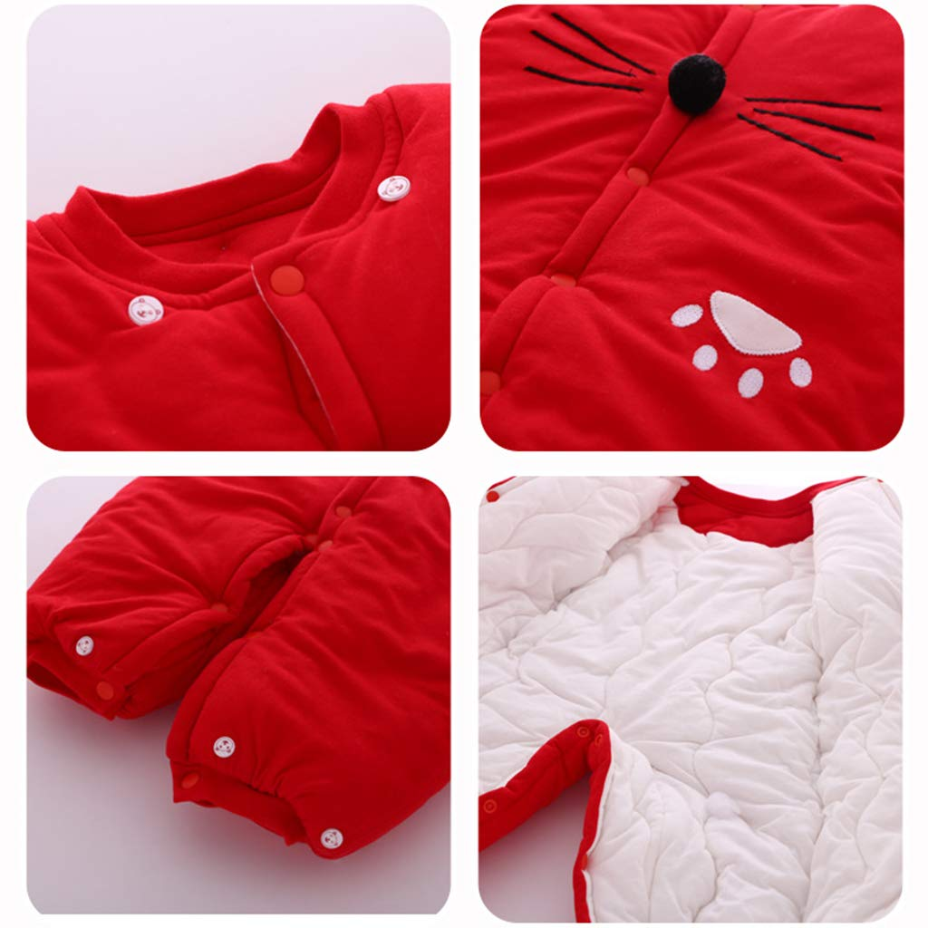 Baby Clothes Boys Girls Hooded Romper Cotton Thicken Jumpsuit Outwear Cute Outfits Vine 12 Months