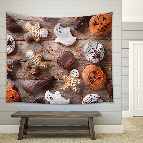 wall26 - Festive Gingerbread Halloween on The Table. Horizontal View from Above - Fabric Wall Tapestry Home Decor - 68x80 -